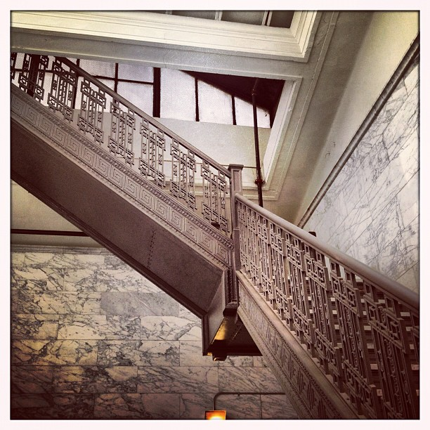 #fiftyshadesofgrey #2 #dtla #securitysavingsbankbuilding #iron #stairs LOVE old buildings!!  (Taken with  Instagram )
