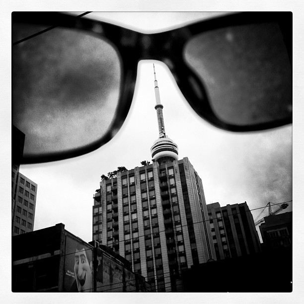 Oh hey #toronto what's popping up? #seenthroughtheeyes of @raen_optics #cntower #tiff2012  (Taken with  Instagram )