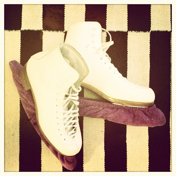 Early this morning I took these old friends out of the closet. About time…#figureskates (Taken with  Instagram )