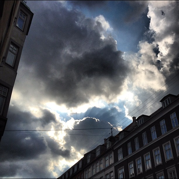 Every #cloud has a #silver lining. The rain ends in #copenhagen for now #nofilter  (Taken with  Instagram )
