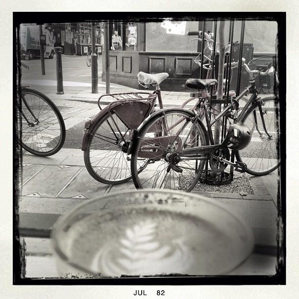 My 3 fav's #flatwhite #bicycles #london (Taken with  Instagram )