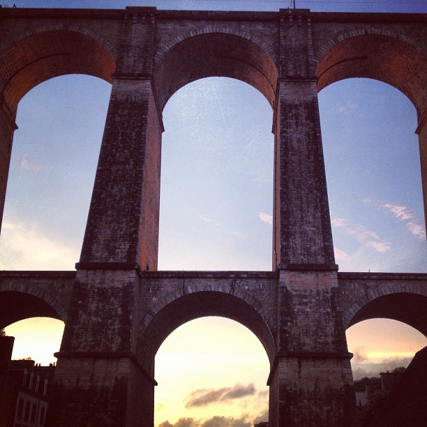 #sunset through #railway #viaduct #morlaix #france  (Taken with  Instagram )