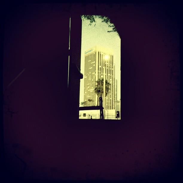 Sadly leaving #set #doorway #dtla #palm #dusk #LA  (Taken with  Instagram )