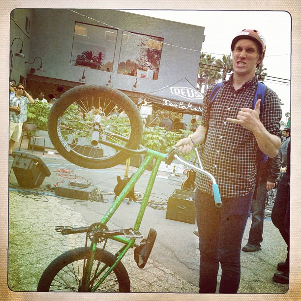 All kinds of fab #bikes @deusemporium Andrew Sallberg and his sparkling green..#nice  (Taken with  Instagram )