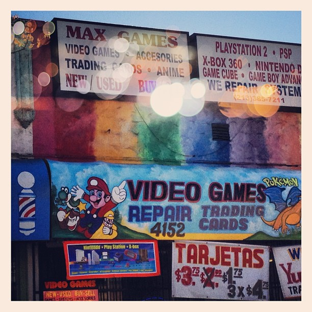 Places you see zooming past on a #bicycle #supermario #videogames #pokemon #tradingcards #barbershop #tarjetas #gameboy #iphoneonly #picoftheday  (Taken with  instagram )