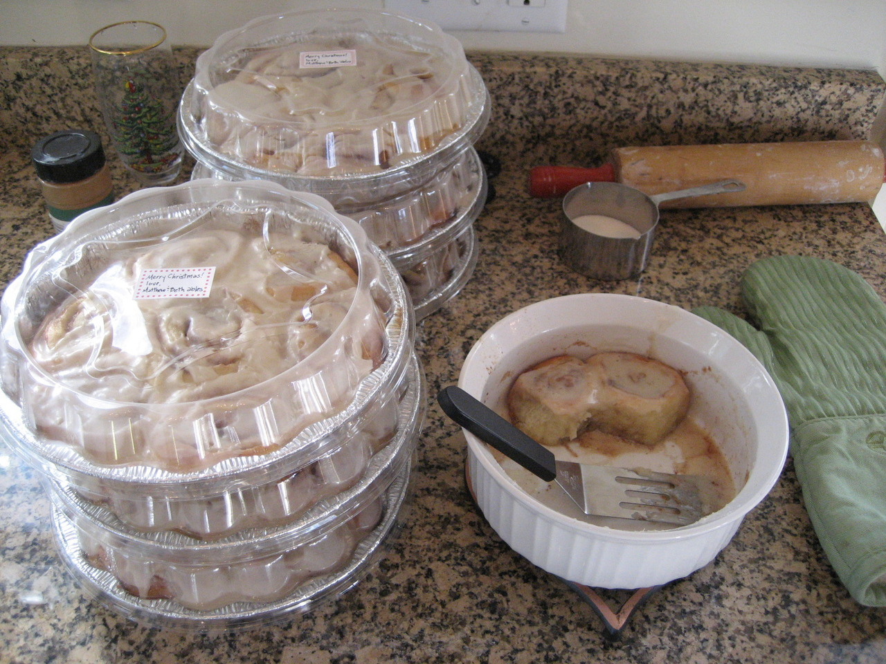 I baked eight pans of cinnamon rolls Sunday morning because I got it in my head that we should have something really yummy and awesome to give to people like Matthew's work friends, our pastor, and our sweet neighbors. And like ideas like this, the end result was good, and it was fantastic to hand out warm-from-the-oven rolls to friends…but it left me tired and grumpy the rest of the day because I had to get up so early.  It was as if I gave every ounce of niceness and sweetness out with these, and Matthew was left with a mean old hag the rest of the day. (via comealive)