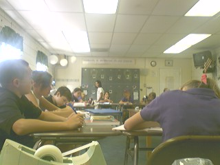here's a quick cameraphone picture I snapped from my desk of my second period class taking a vocabulary quiz.
