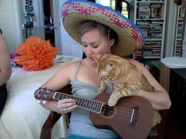 GPOYUCASHW: Gratuitious Picture of Yourself, Ukelele, Cat, and Sleepy Husband Wednesday. ole.