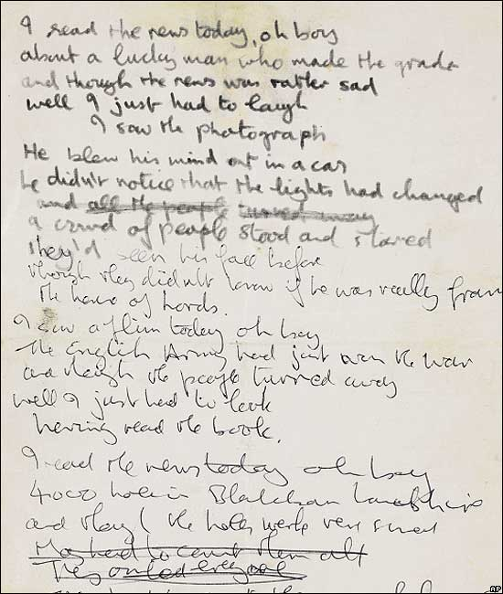 "John Lennon's handwritten lyrics to ""A Day in the Life"" sold for $1.2 million.     via the BBC"