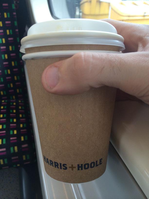 Decent cup of coffee on the Metropolitan Line via Harris + Hoole.