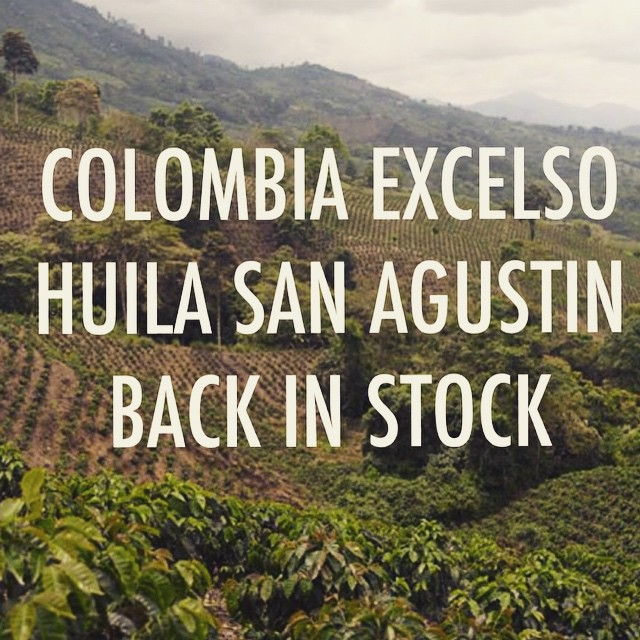 Green Coffee Colombia Excelso Microlot from San Agustin back in stock.