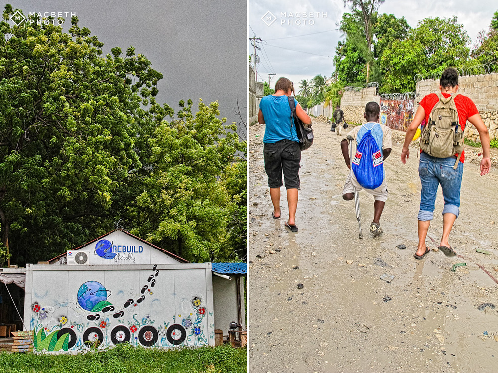 Left image: The REBUILD globally workshop and training center.  Right Image: Beks and Sandra with Bout hoping to beat the rain while navigating through puddles and pot holes. They were on their way to REBUILD's former sandal shop after their tap-tap broke down. Uh-oh.