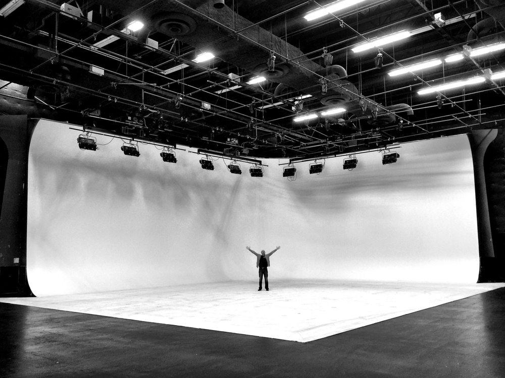 The client on the 50' x 60' x 29' double cyc at Chapman/Leonard Studio [click photo for link].