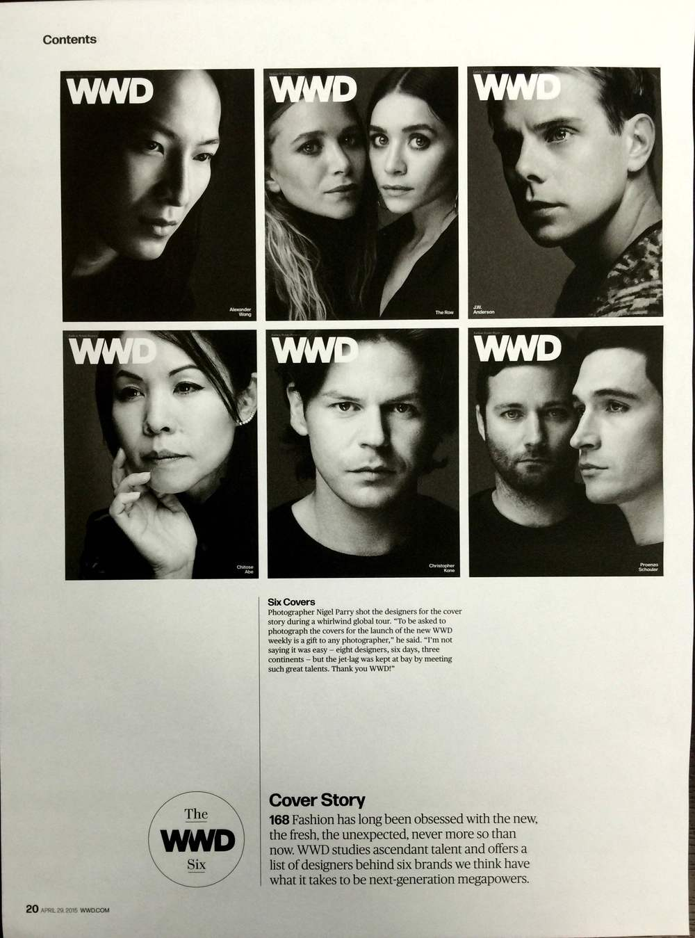 The inspiration for this week's team portraits came from an issue of Women's Wear Daily, beautifully shot in black and white by celebrity photographer Nigel Parry.