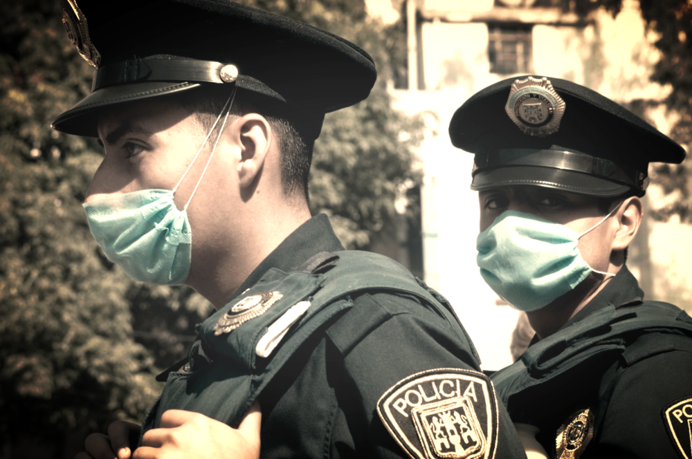 Mexcian Police prepped for virus control by Sari Huella