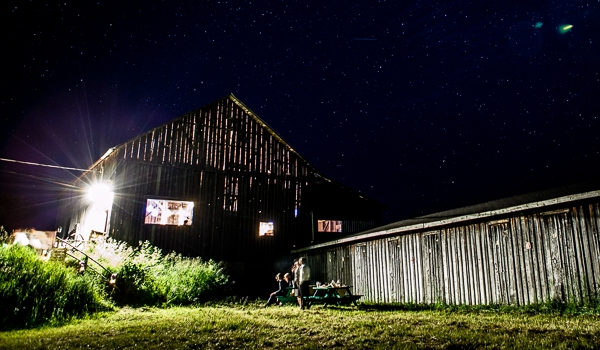 The barn, AMC's main concert venue at night