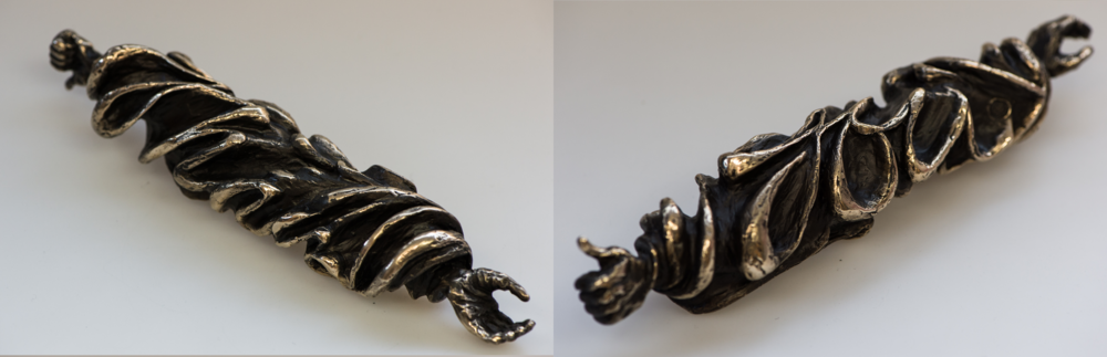 "'Gratification', Bronze, ""Thank You"" is carved around cylinder, 245 x 50mm, 1/1, 2014"