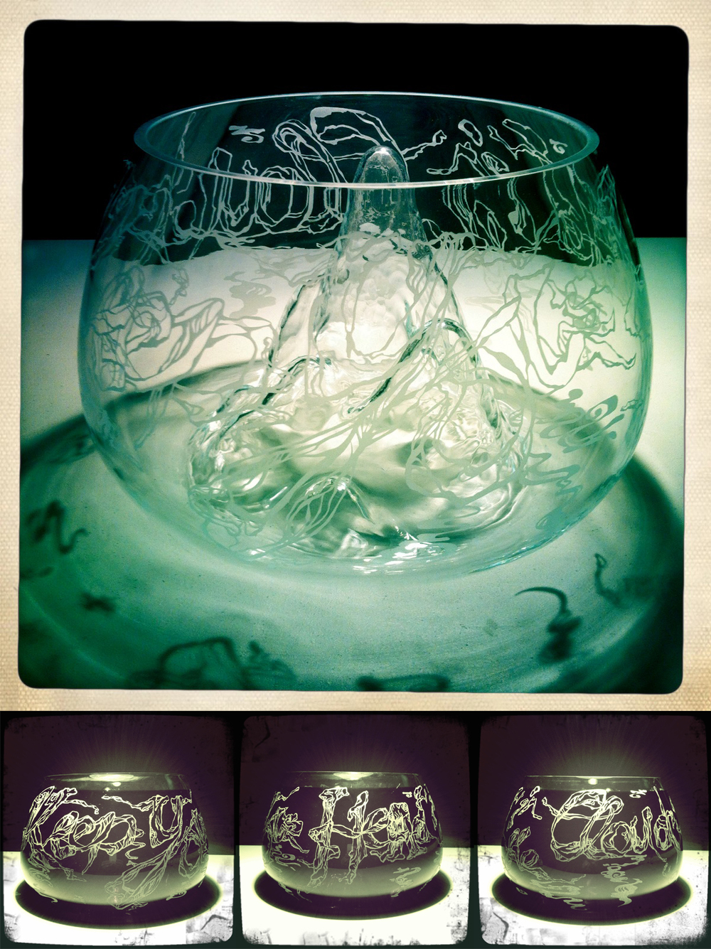 'Keep Your Head in the Clouds', Hand cut and etched glass vase with internal landscape, 320 x 200m, 3/3, 2014