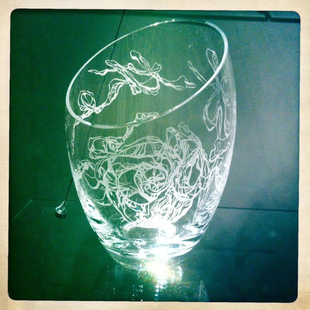 'Out of the Dog Box', Hand cut and etched glass vase, 200 x 320mm, 1/1, 2014