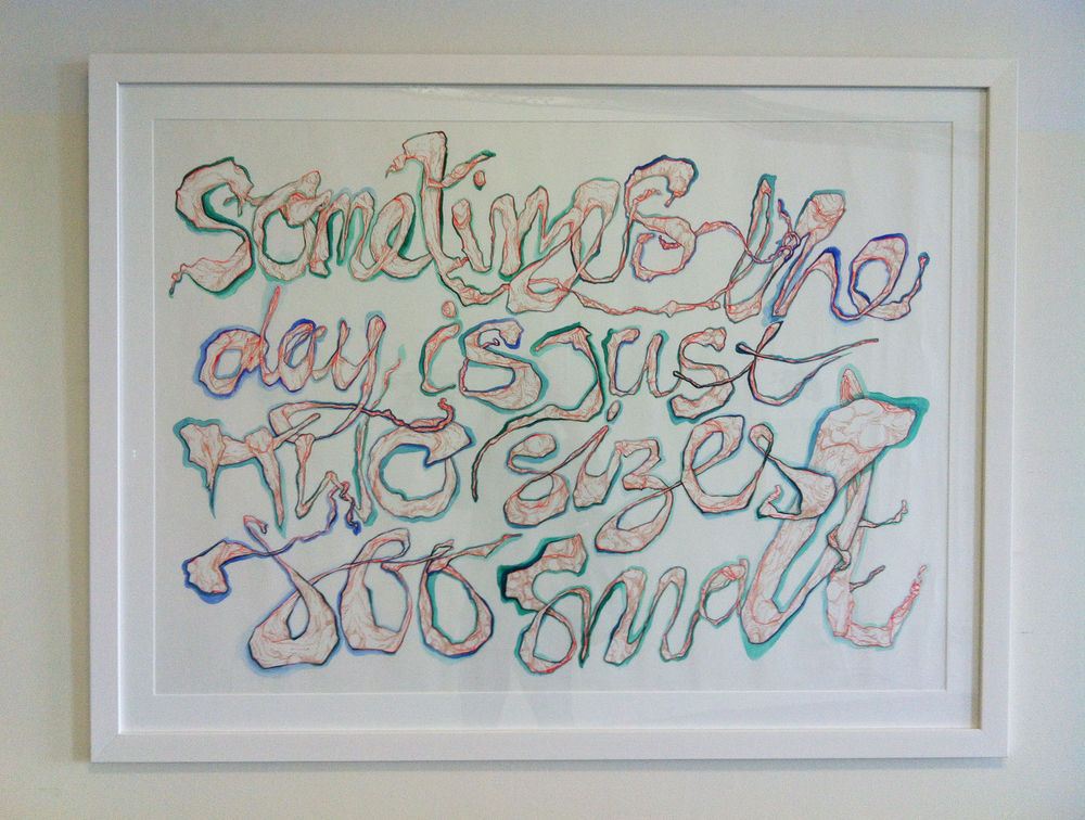 'Sometimes the Day is Just Two Sizes Too Small', Framed mixed media paint, gouache, ink artwork, 1350 x 1030mm, 1/1, 2012