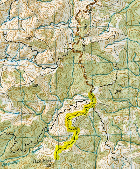 Rocky Hill Rd map (93Km return from Carterton incl. the highlighted segment).JPG
