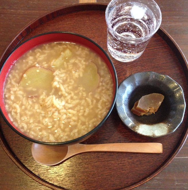 Chagayu or tea rice porridge with sweet potato (kumera to us Kiwi) and sake pickles
