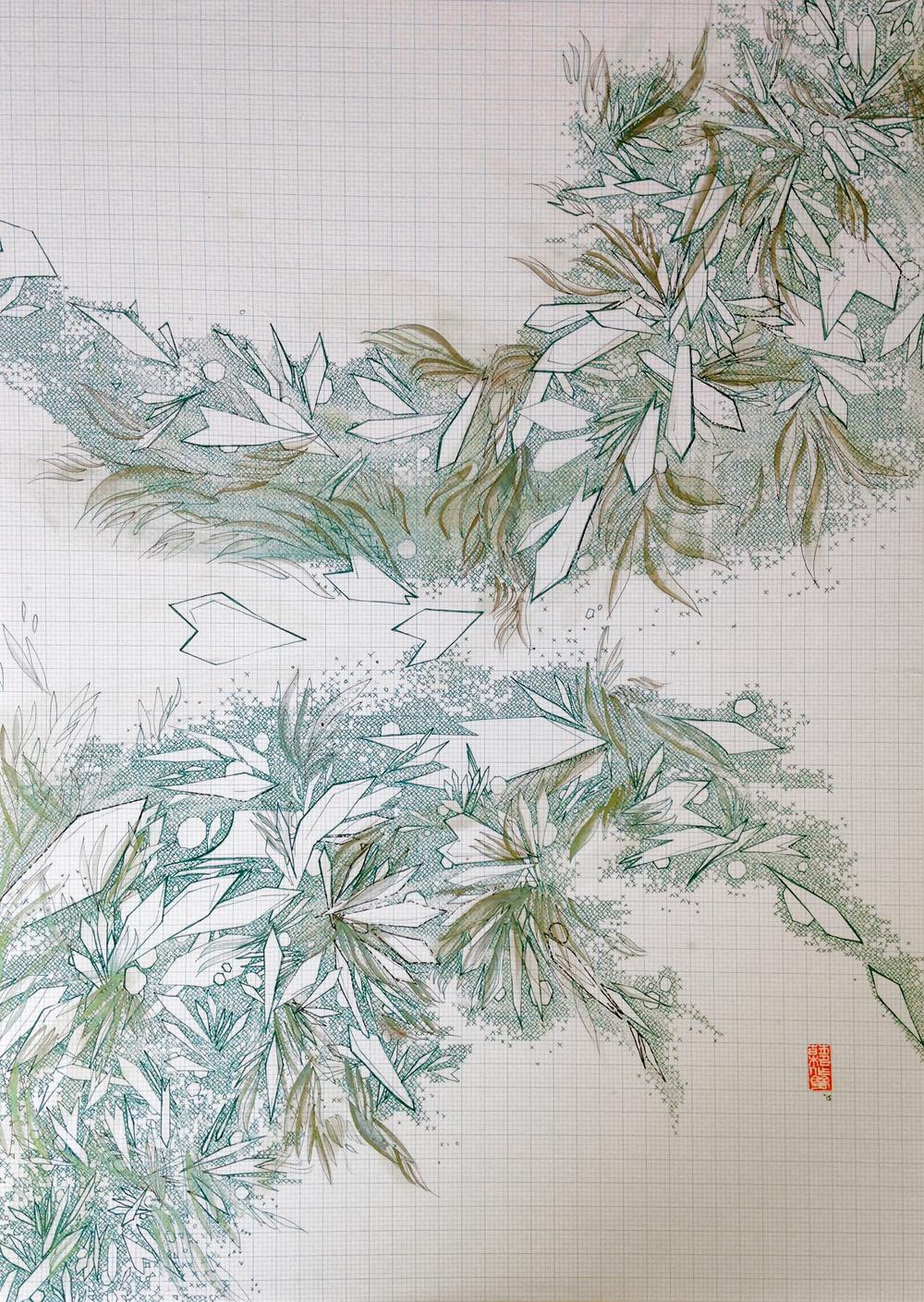 'オリーブ'  Green pigment liner, olive tea ink, metallic watercolour, hanko signature stamp, 400 x 560mm