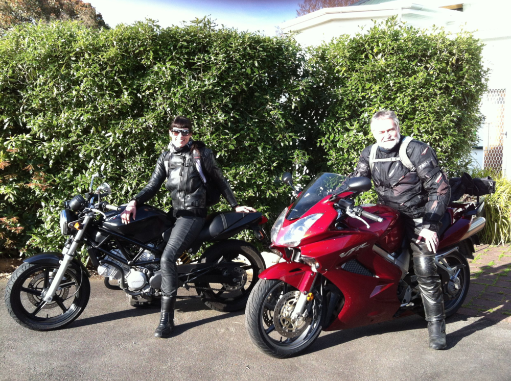 My #1 riding buddy- my Da and our old beloved Honda bikes :)