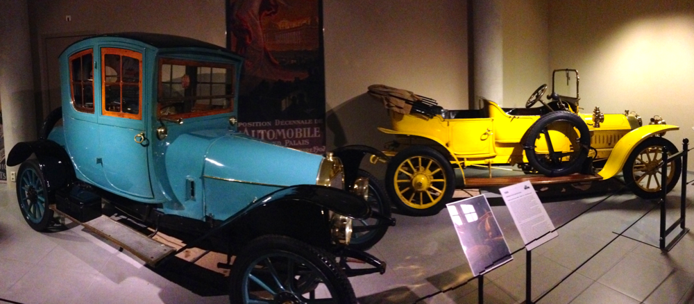 Blue: 1909 Gregoire 12/14-HP Coupe de Voyage and Yellow: 1910 Peugeot Type 126 12-15-HP Touring