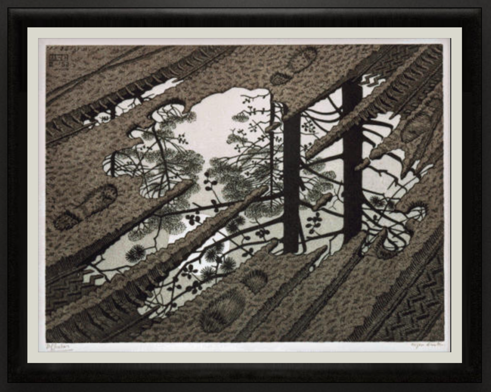 Puddle, 1952, Woodcut in black, green and brown, printed from 3 blocks. 319mm x 240mm.