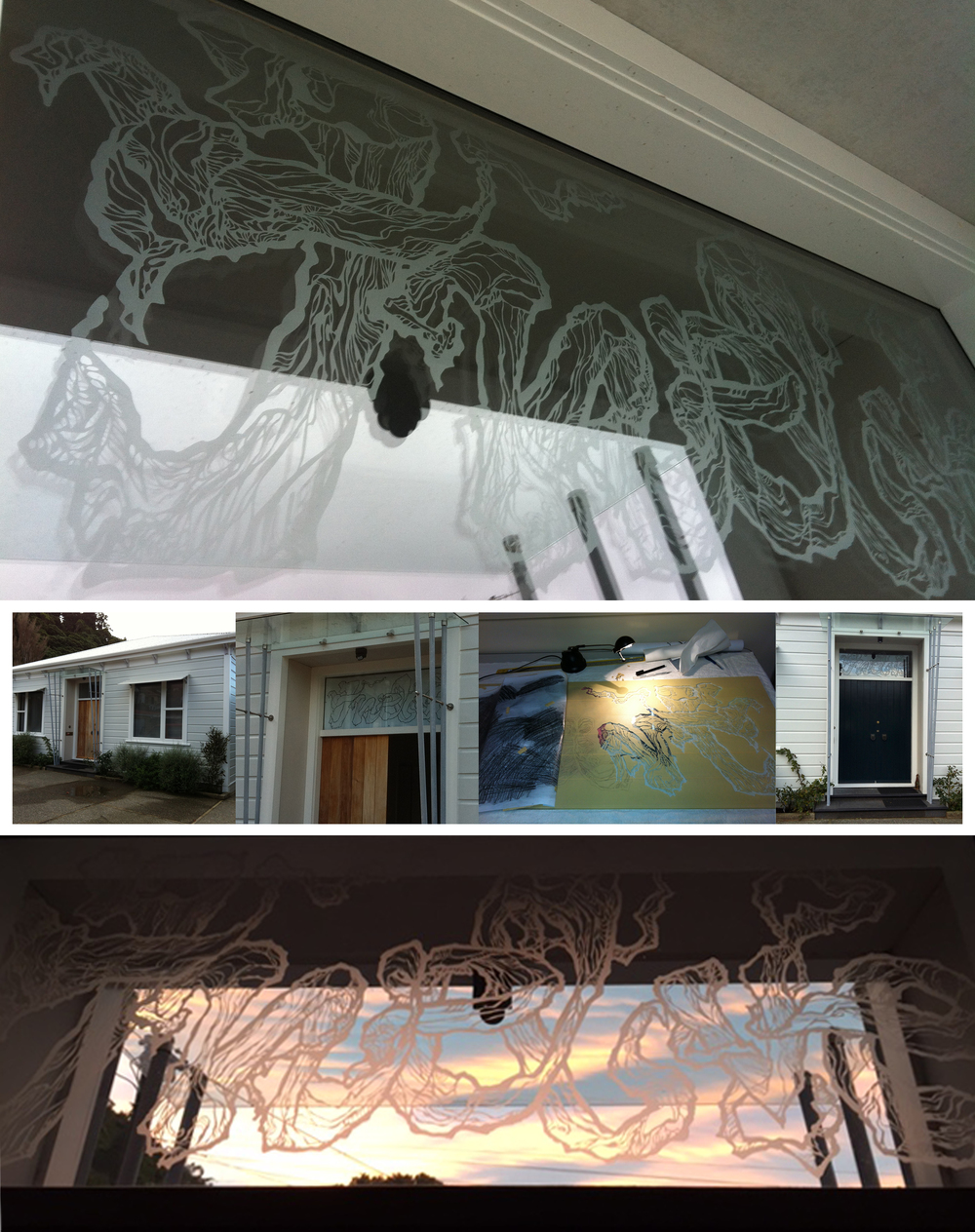 'Twelve',  Hand cut and etched glass double glazed window. Commission work for a personalised 'number' of villa  Anna Campion & David Hazlett, Thorndon- Wellington, 2012