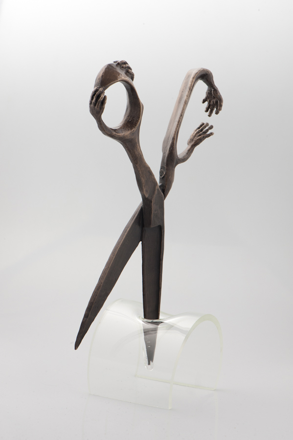 'Love Cuts Deep' , Bronze and flame glass (stand), 2013, 140 x 310mm (when in stand), 'Love Cuts Deep' was an edition of three.