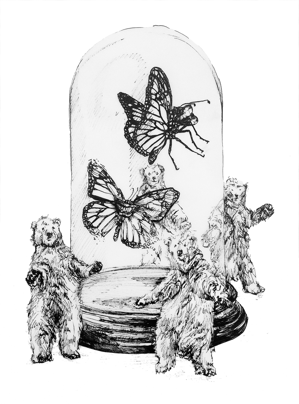 'Butterflies in Bell-Jars'  297 x 420mm, 2015