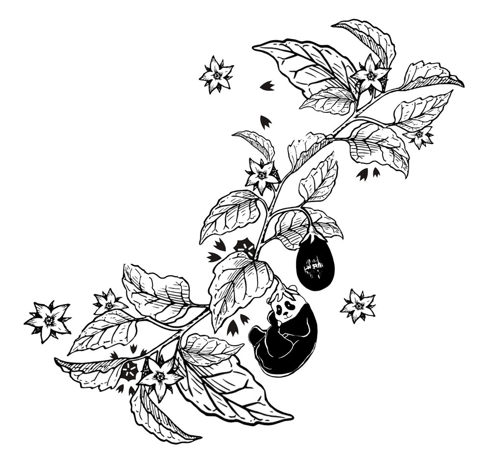 'Hatsuyume' , (初夢- the first dream of the new year. Aubergine are symbolic of reaching full potential, prolific production and seen as an omen for prosperity and achievement), 2016- addition to Moxham's tattoo.