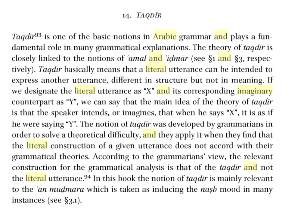 An excerpt taken from  'The Subjunctive Mood in Arabic Grammatical Thought' , By Arik Sadan, which I got submersed within in along my travels researching Arabic.. what a language huh!!