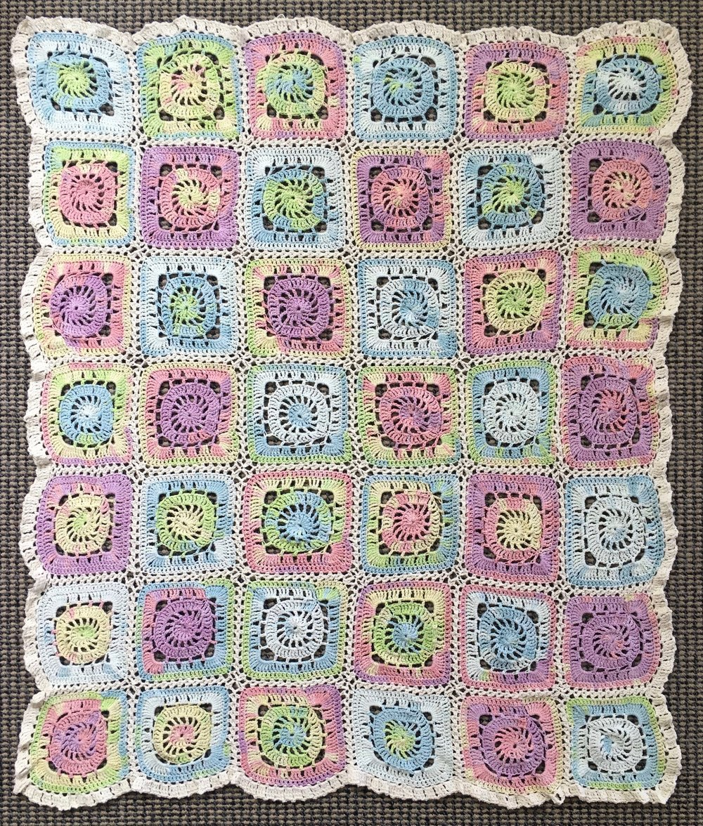'Swaddled', 100% cotton crocheted blanket, 918 x 1080mm, 1/1, 2017
