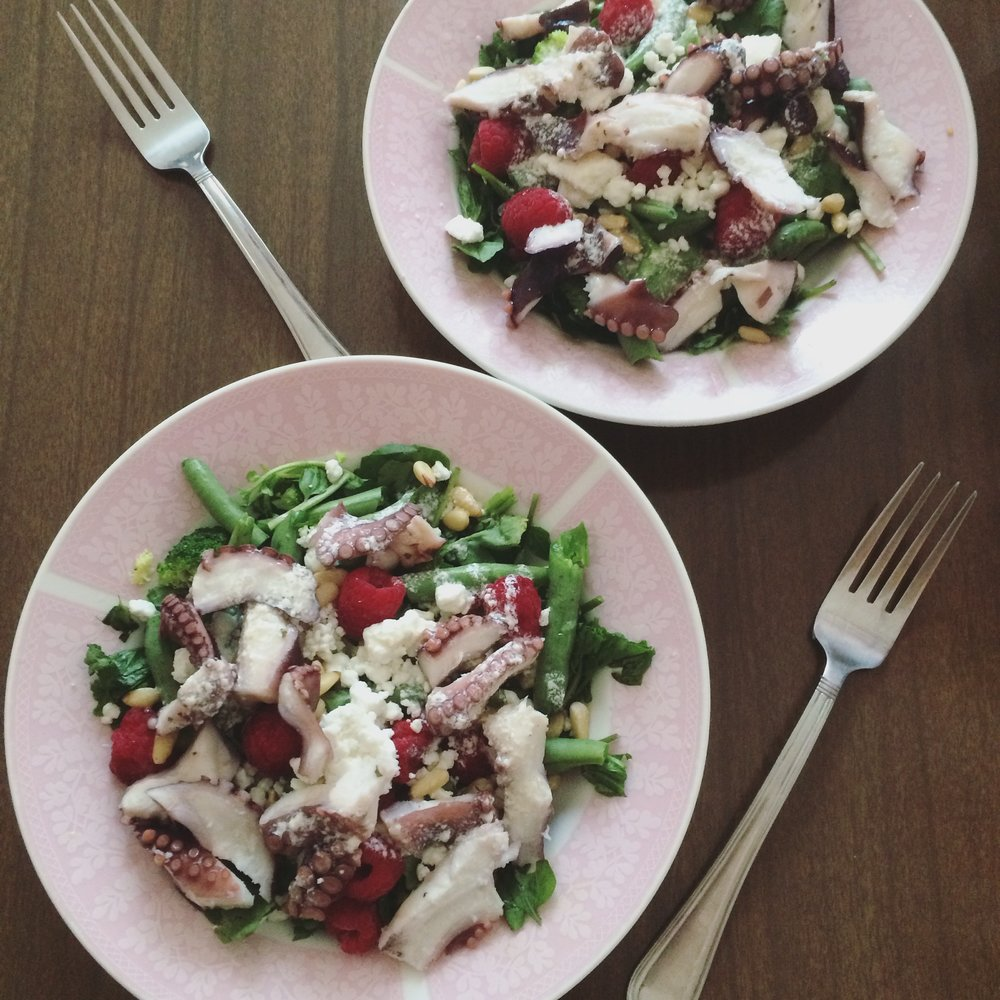 Raspberry & Octopus Salad