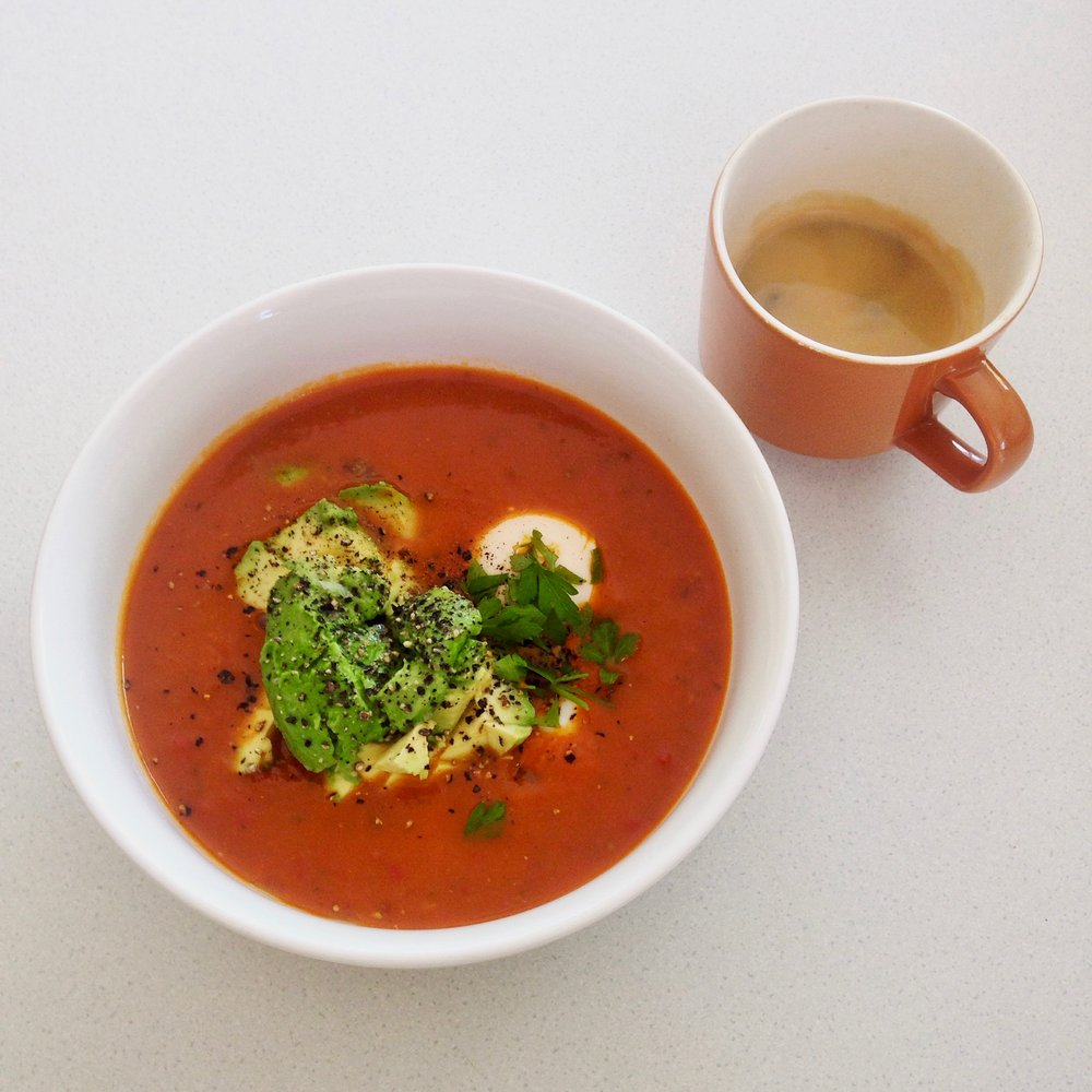 Spicy Tomato Soup w/ Avocado