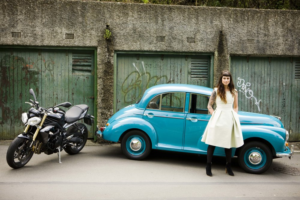 Moxham's 2014 Triumph Street Triple & 1958 Morris 'Maria' Minor 1000 which she restored with the help of her friends. Photography:  Nicola Edmonds
