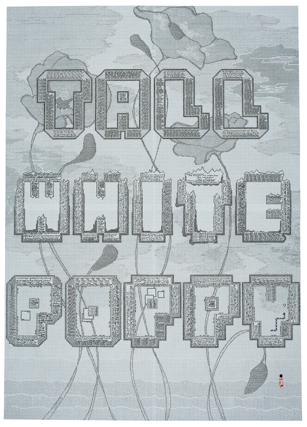 'Tall White Poppy' , Staedtler pigment liner, hanko & wax signature, 800 x 1120mm, 1/1, 2016