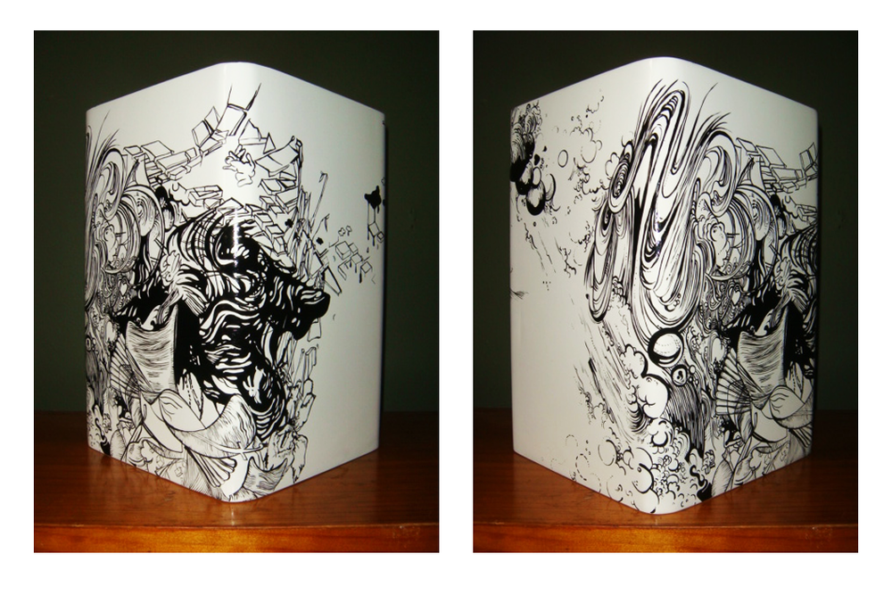 'Indelible'  Enamel, hand painted wooden vase, 150 x 200mm, 2011, 1/1