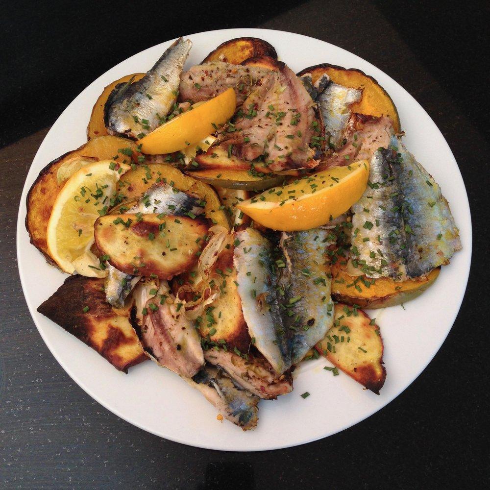 Roast Sardines w/ Kumera & Roots