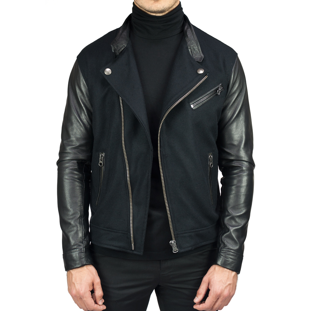 Asymmetrical Mixed Media Jacket  [$650]