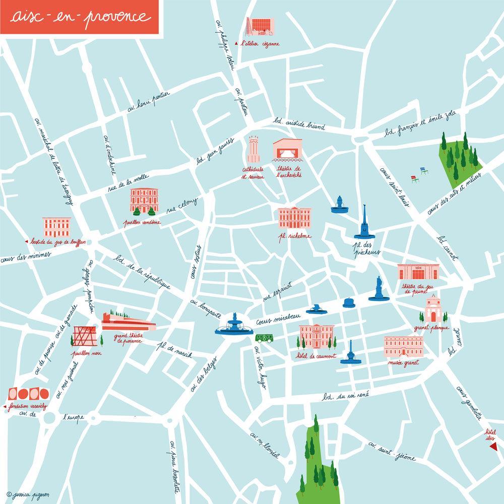 AIXENPROVENCE CITY MAP Jessica Pigeron