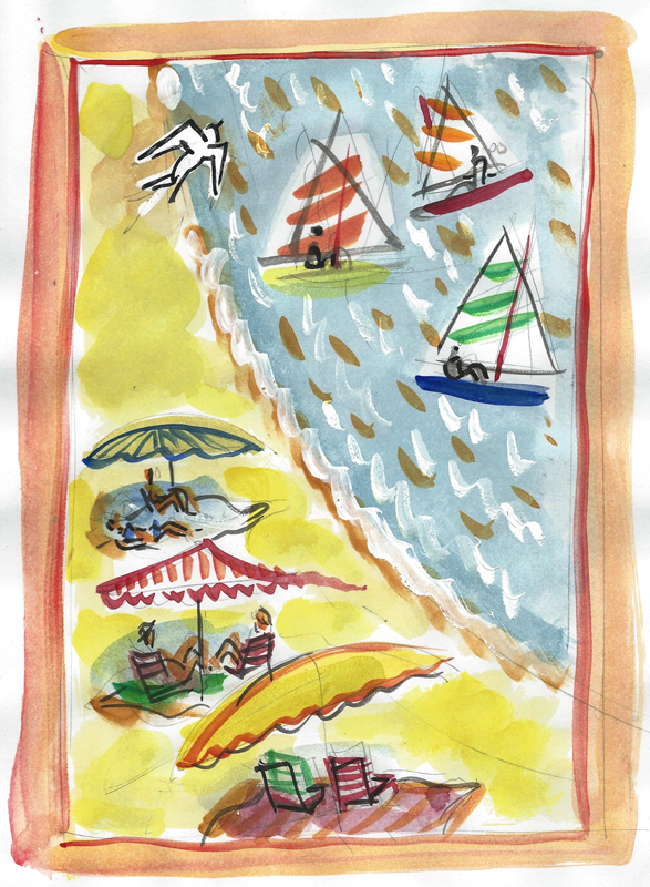 """A Day at the Beach $140 includes shipping from France    12"""" x 16"""" matted and ready for standard frame"""