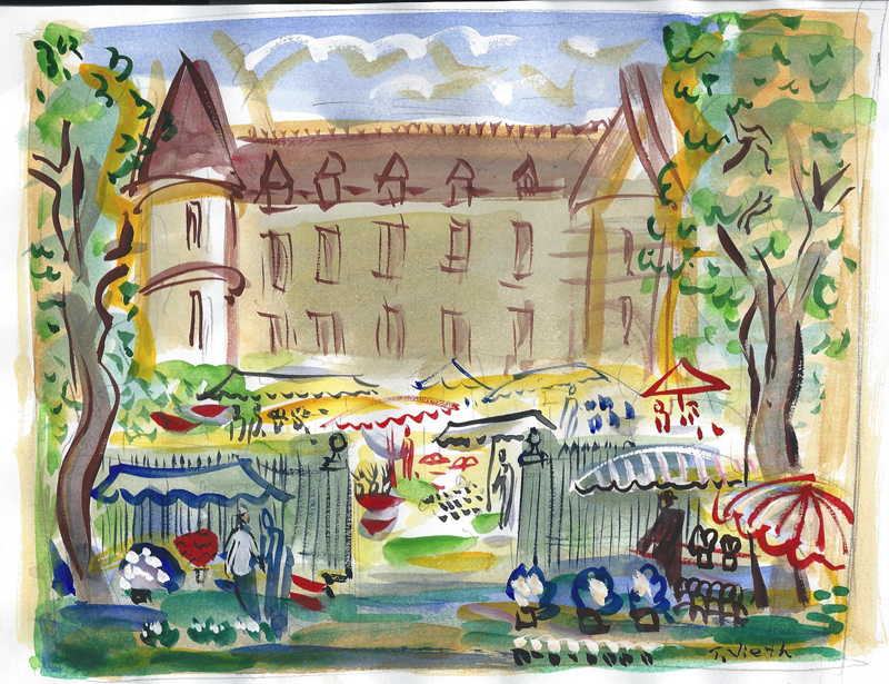 """Flower Festival  $140 includes shipping from France    12"""" x 16"""" matted and ready for standard frame"""