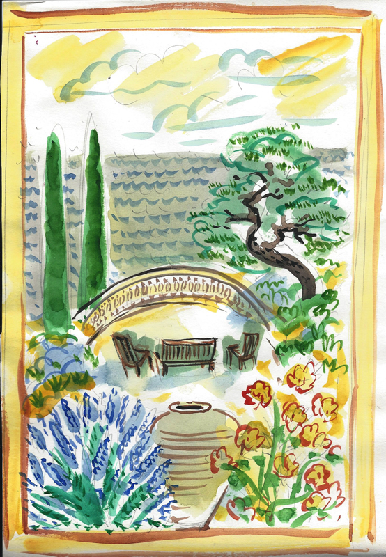 """Seaside Garden $140 includes shipping from France    12"""" x 16"""" matted and ready for standard frame"""