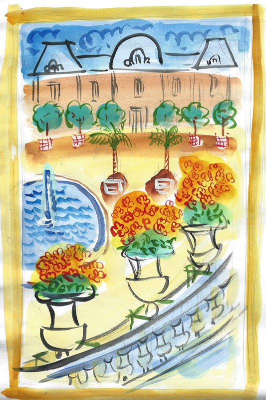 """Luxembourg Gardens $140 includes shipping from France    12"""" x 16"""" matted and ready for standard frame"""