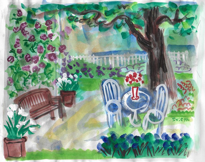 """Summer Garden $140 includes shipping from France    12"""" x 16"""" matted and ready for standard frame"""