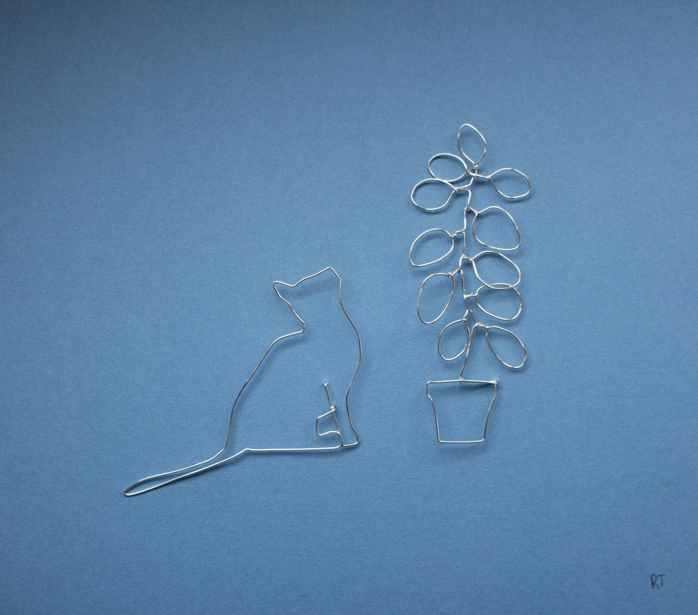 Cat and Plant  silver plated copper wire  sold